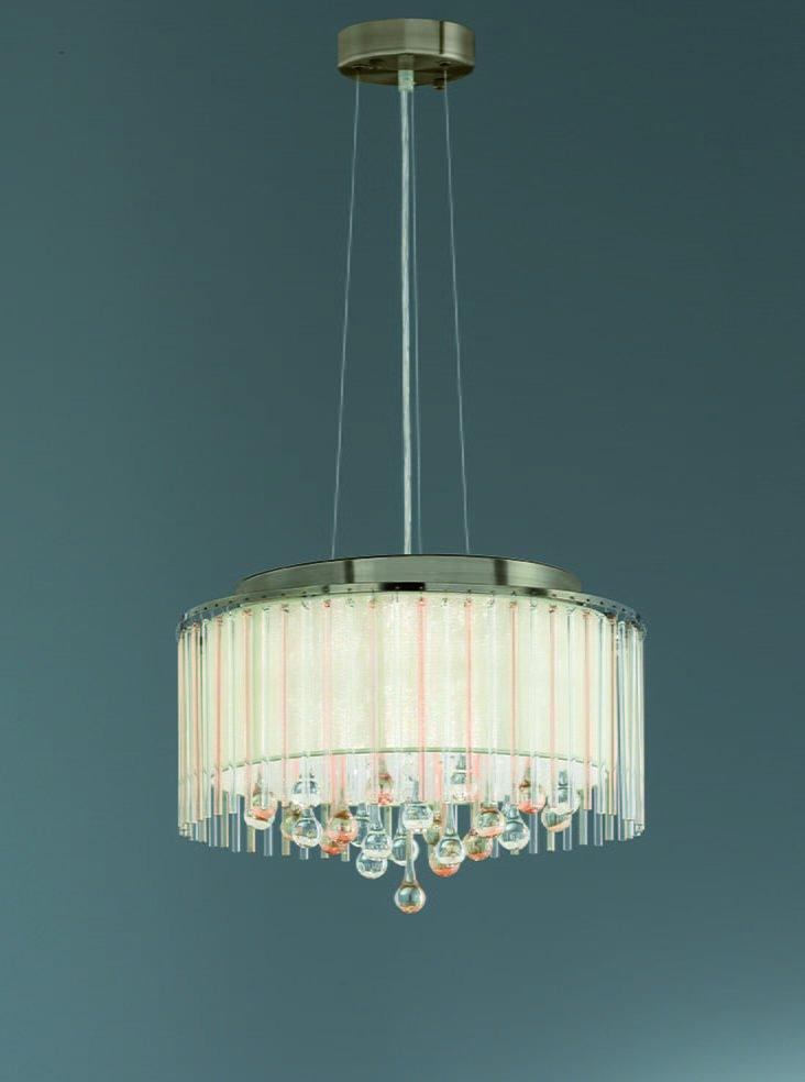 Franklite FL2346/6 Ambience 6 Light Pendant Bronze finish with Crystal drops inside a lustrous strung shade.