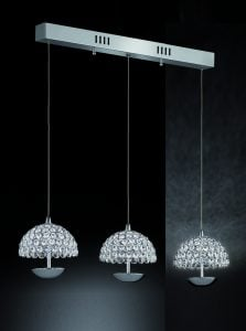 FL2349/3 Illusion 3 Pendant Lights on a bar in Chrome