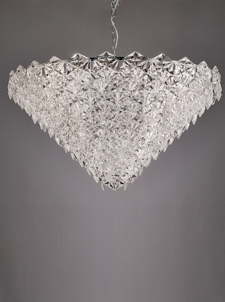 Franklite FL2351/18 Mosaic 18 Light Pendant in Chrome with hexagonal crystal glass plates.