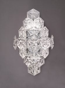 FL2351/6 Mosaic 6 Light Wall Light in Chrome with hexagonal crystal glass plates.