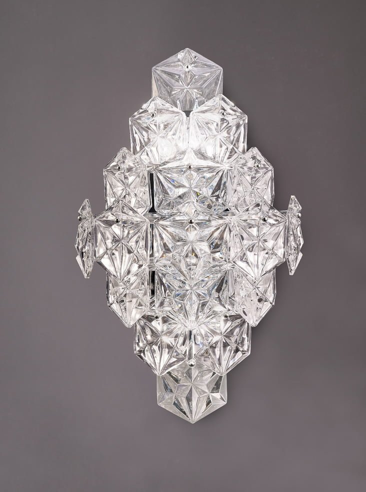 Franklite FL2351/6 Mosaic 6 Light Wall Light in Chrome with hexagonal crystal glass plates.