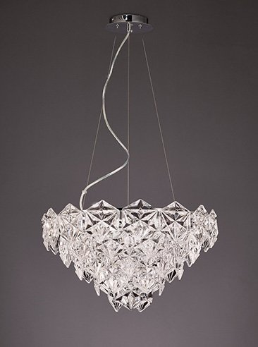 Franklite FL2351/7 Mosaic  7 Light Pendant in Chrome with hexagonal crystal glass plates.