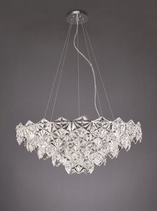 FL2351/9 Mosaic 9 Light Pendant in Chrome with hexagonal crystal glass plates.