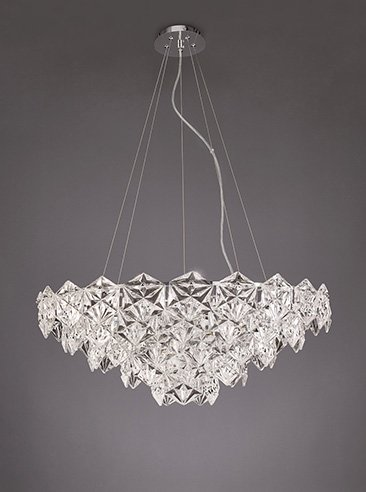 Franklite FL2351/9 Mosaic 9 Light Pendant in Chrome with hexagonal crystal glass plates.