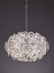 FL2352/6 Mosaic 6 Light Ball Pendant in Chrome with hexagonal crystal glass plates.