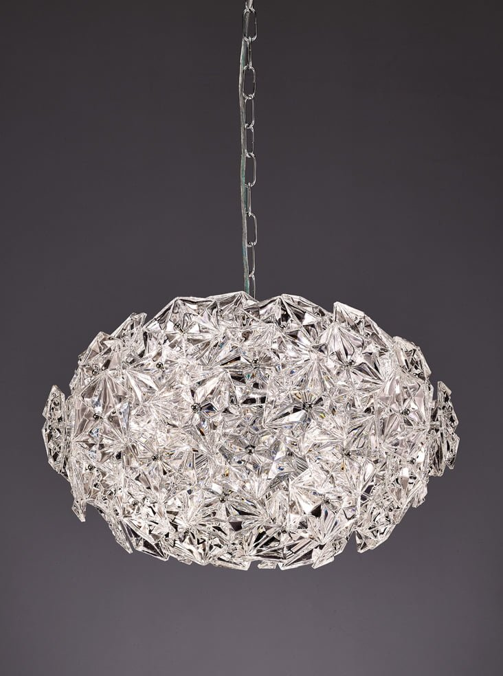 Franklite FL2352/6 Mosaic 6 Light Ball Pendant in Chrome with hexagonal crystal glass plates.