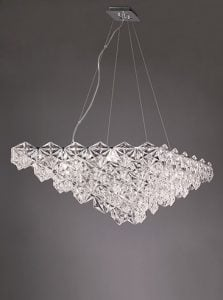 FL2352/7 Mosaic 7 Light Pendant in Chrome with hexagonal crystal glass plates.