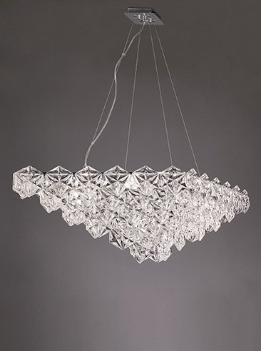 Franklite FL2352/7 Mosaic 7 Light Pendant in Chrome with hexagonal crystal glass plates.