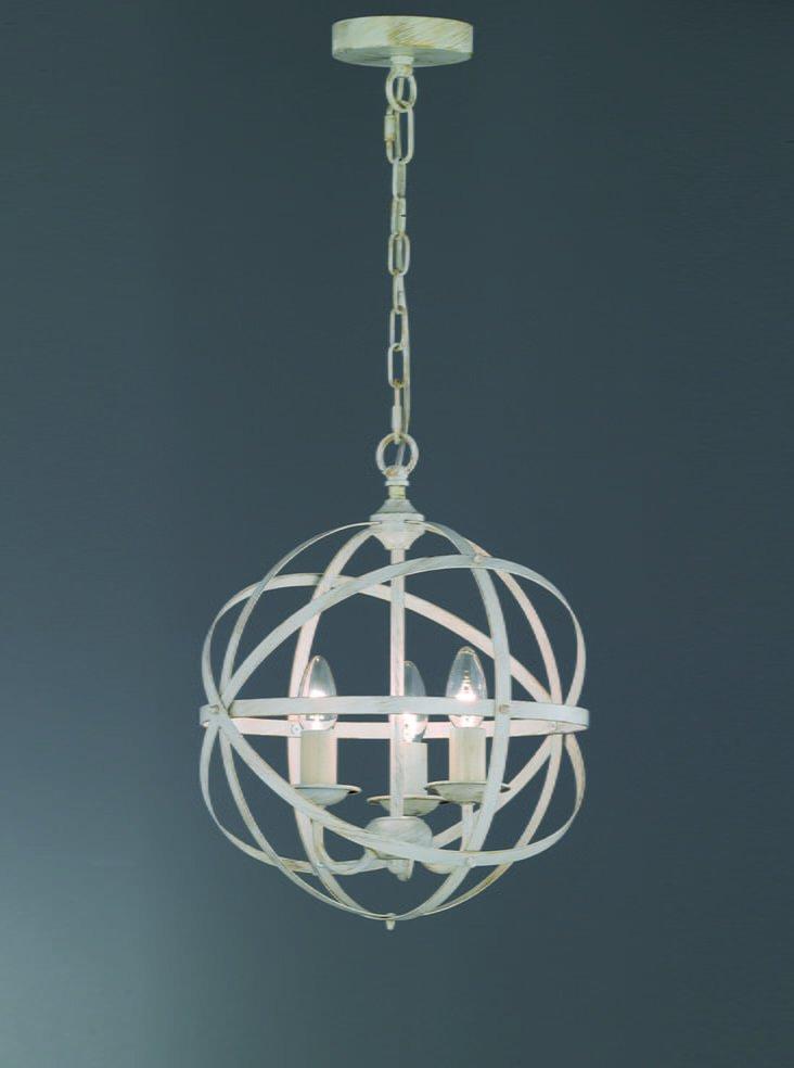 Franklite FL2353/3 Cosmic 3 light pendant white concentric design, cream & gold
