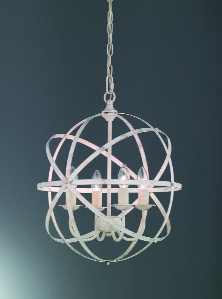 Franklite FL2353/4 Cosmic 3 light pendant white concentric design, cream & gold