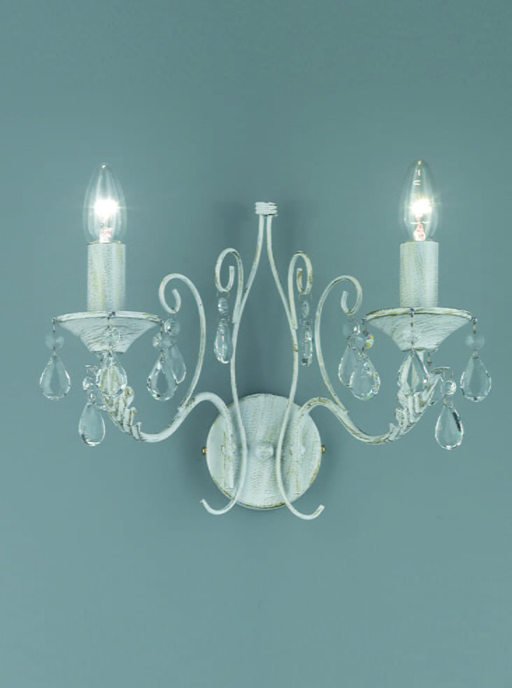 FL2355/2 Aria Double Wall Light in White with hand brushed gold highlights and crystal glass ...