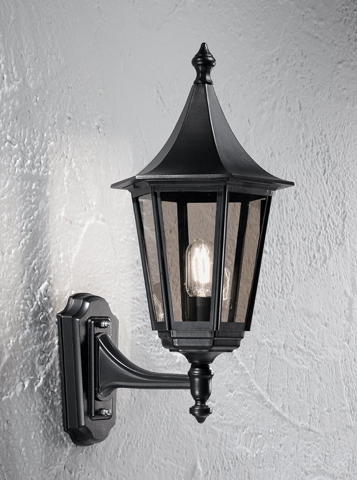 Franklite LA1605-1 Boulevard up lit wall lantern medium, matt black aluminium