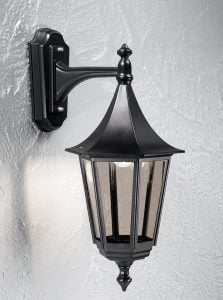 LA1606-1 Boulevard Large Exteria Down Wall Light in Black & Smoked Glass