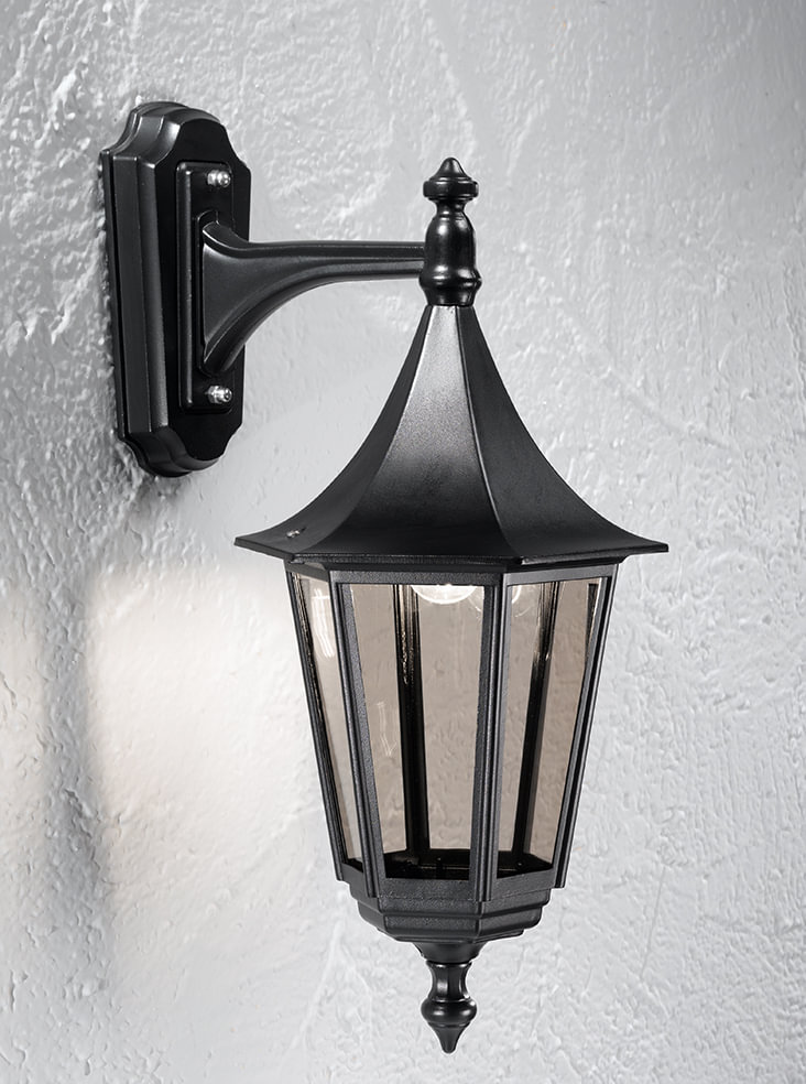 Franklite LA1606-1 Boulevard Large Exteria Down Wall Light in Black & Smoked Glass