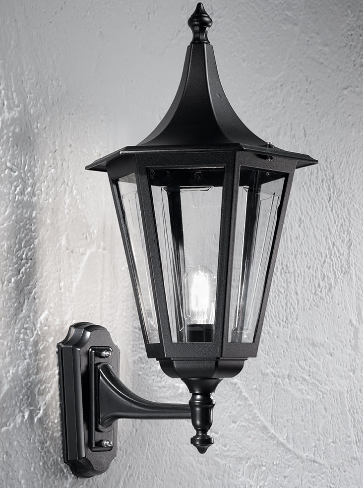Franklite LA1608-1 Boulevard up lit wall lantern large, matt black aluminium