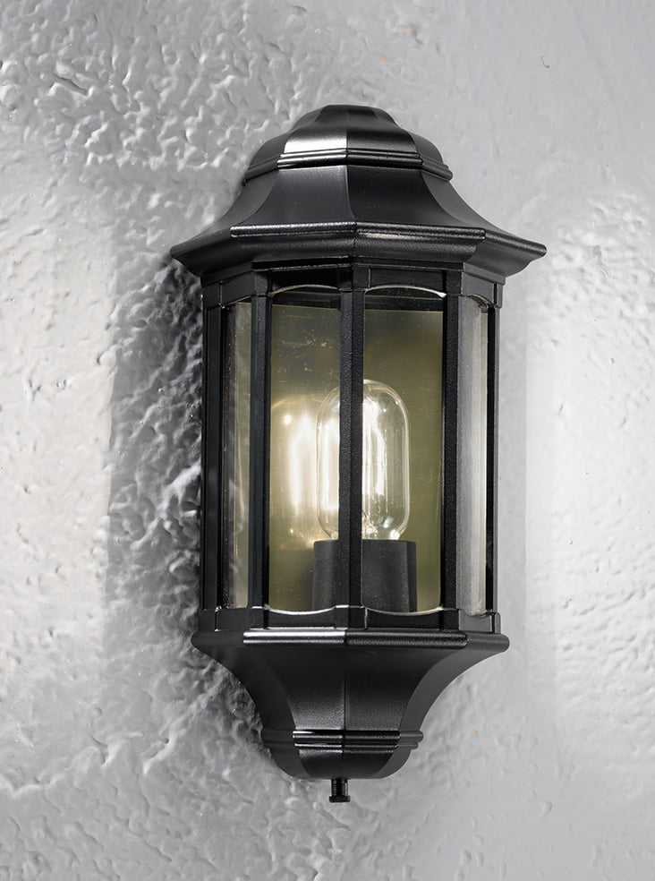 Franklite LA1610-1 Boulevard exterior wall light, matt black aluminium