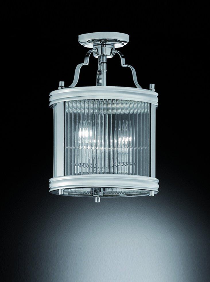 Franklite LA7015 Merton 3 Light semi flush lantern  in chrome with clear reeded glass panels.
