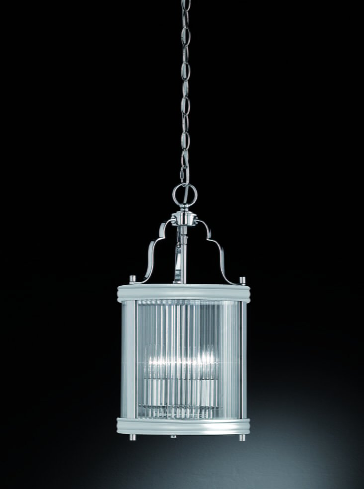 Franklite LA7016 Merton 3 Light lantern  in chrome with clear reeded glass panels.
