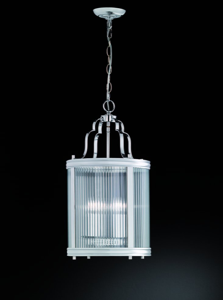 Franklite LA7017 Merton 4 Light lantern  in chrome with clear reeded glass panels.