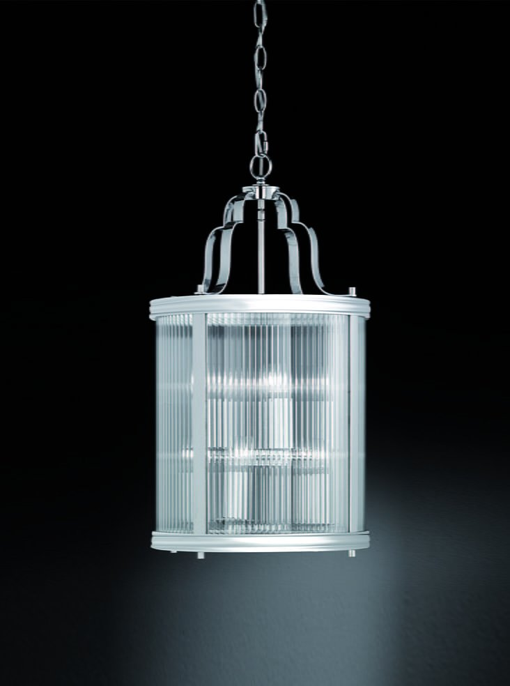 Franklite LA7018 Merton 8 Light lantern  in chrome with clear reeded glass panels.