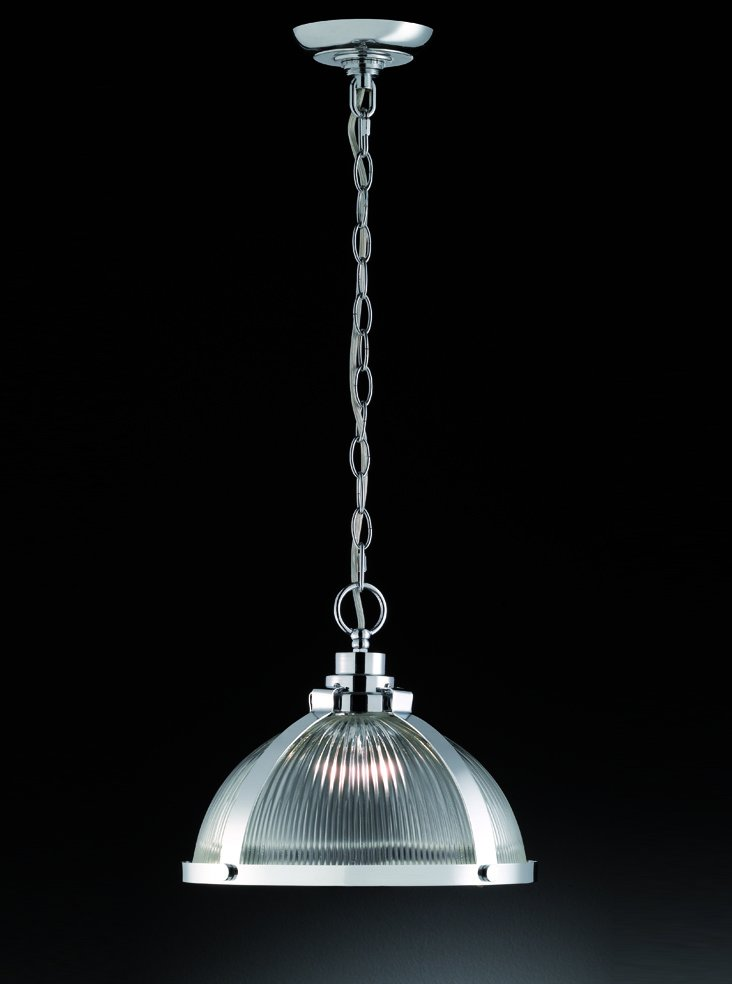 Franklite PCH116 Merton 1 Light pendant in chrome with clear ribbed glass.