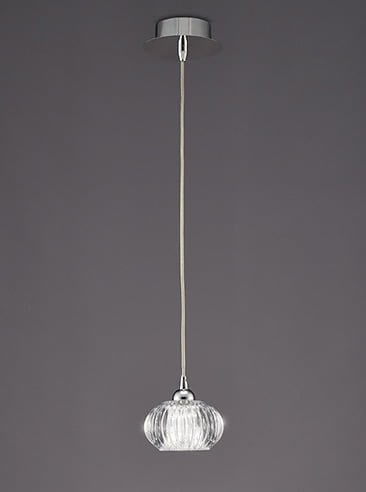 Franklite PCH117 Tizzy Single Light Pendant satin nickel and cut glass.