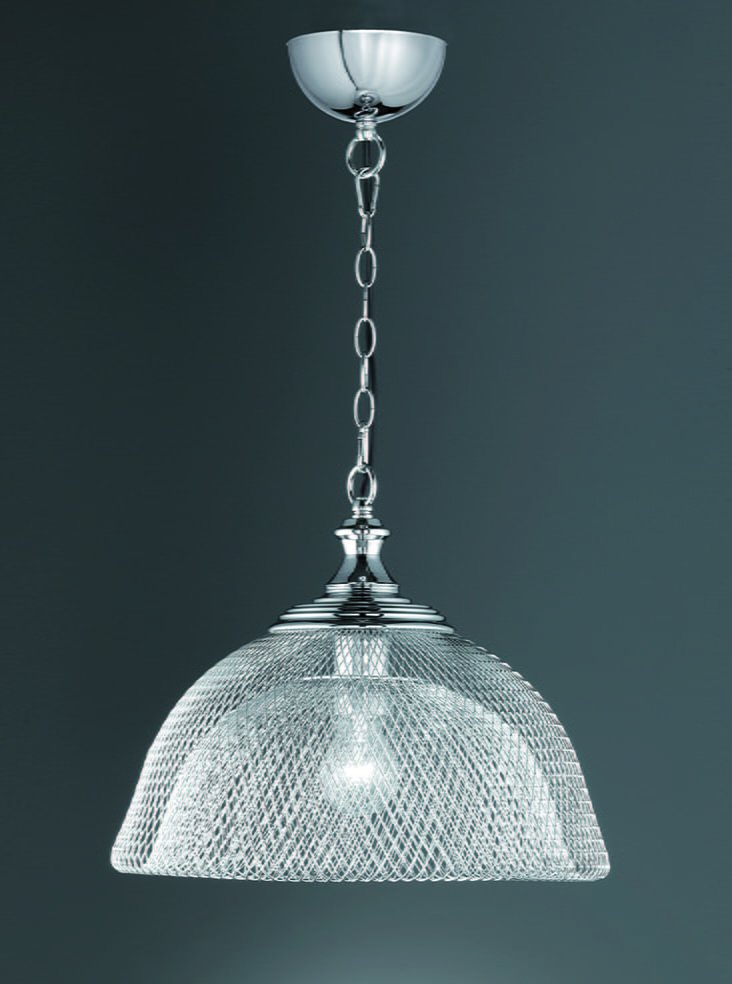 Franklite PCH120 Charter single pendant with open wirework, chrome