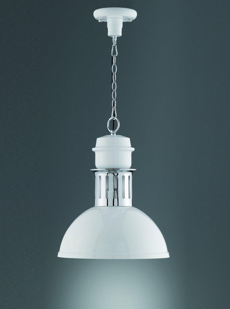 Franklite PCH122 Sassy single pendant, white & chrome