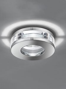 RF310 Recessed LED Downlight with a Crustal Glass Suspended between two Chrome finish discs. Round
