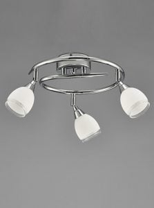 SPOT8963 Lutina 3 Light Circular Bow in Chrome finish with clear edged satin white glass shades.