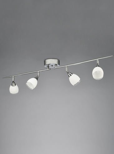 Franklite SPOT8964 Lutina 4 Light on a Bar in Chrome finish with clear edged satin white glass shades.