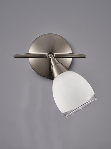 Franklite SPOT8971 Lutina 1 Light Switched Wall Light in Satin Nickel finish with clear edged satin white glass shades.