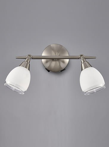 Franklite SPOT8972 Lutina 2 Light Switched Wall Light in Satin Nickel finish with clear edged satin white glass shades.