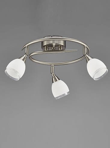 Franklite SPOT8973 Lutina 3 Light Circular Bow in Satin Nickel finish with clear edged satin white glass shades.