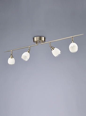 Franklite SPOT8974 Lutina 4 Light on a Bar in Satin Nickel finish with clear edged satin white glass shades.