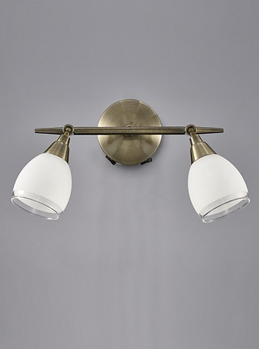 Franklite SPOT8982 Lutina 2 Light Switched Wall Light in Bronze finish with clear edged satin white glass shades.