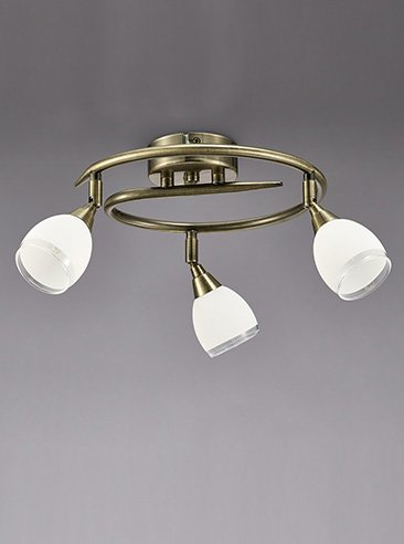 Franklite SPOT8983 Lutina 3 Light Circular Bow in Bronze finish with clear edged satin white glass shades.