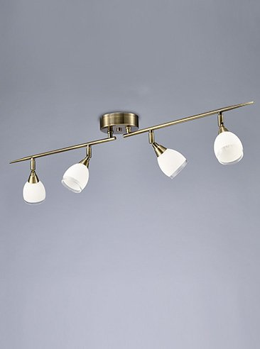 Franklite SPOT8984 Lutina 4 Light on a Bar in Bronze finish with clear edged satin white glass shades.