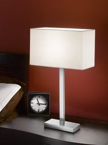 TL875/9867 Rectangle table lamp, chrome & off white shade