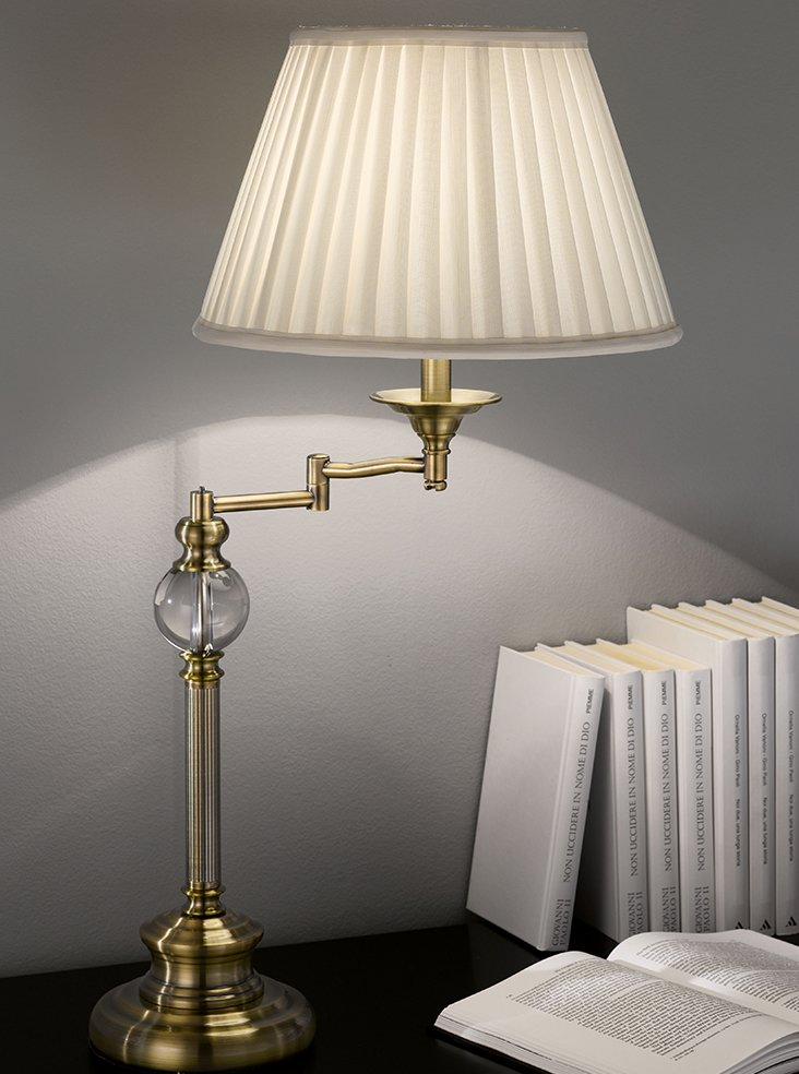 Tl902 Swing Arm Table Lamp Bronze With Pale Cream Shade Lighting