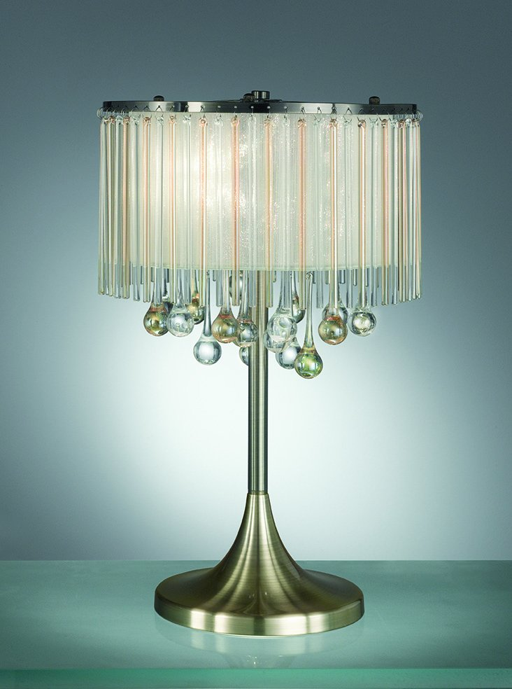 Franklite TL986 Ambience 3 Light Table Lamp Bronze finish with Crystal drops inside a lustrous strung shade.