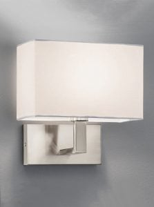 WB045/9892 Rectangle wall light, satin nickel & off white shade
