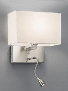 WB046/9892 Rectangle wall & LED reading light, satin nickel & off white shade
