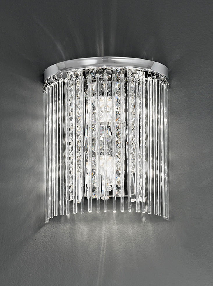 Franklite WB048 Half circle wall light, chrome and crystal
