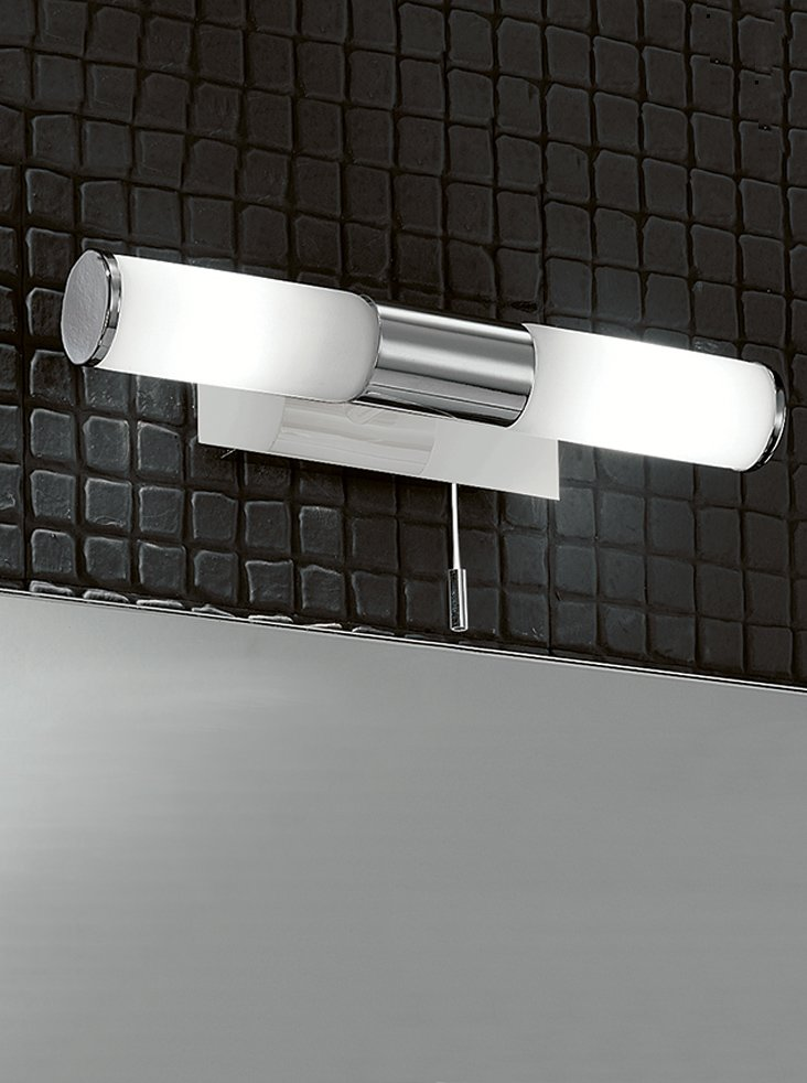 Franklite WB933 Double bathroom wall light, chrome and glass