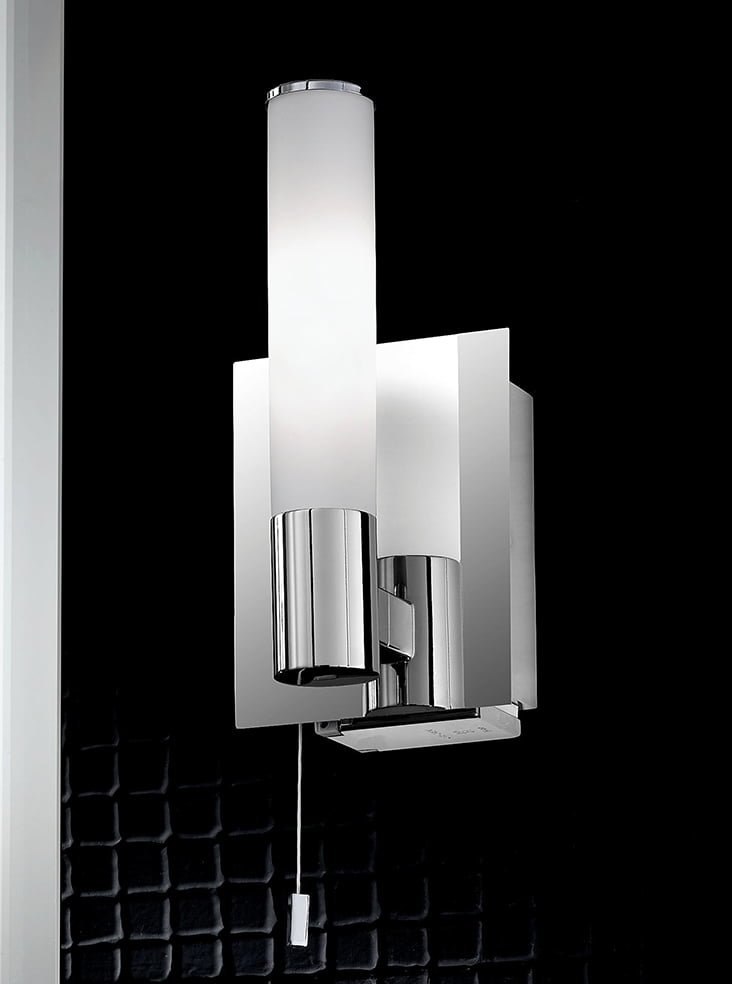 Franklite WB977 Single bathroom wall light, chrome and satin opal glass with shaver socket