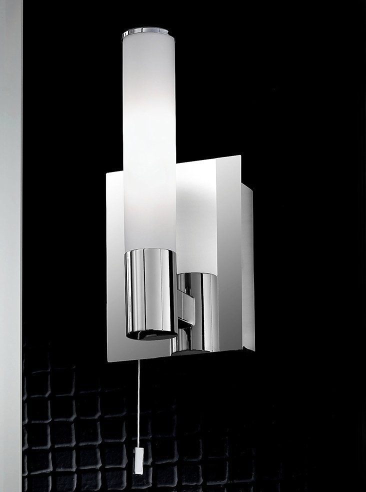 Franklite WB981 Single bathroom wall light, chrome and satin opal glass