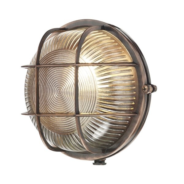 ADM5064 Admiral 1 Light Round Wall Light in Antique Copper