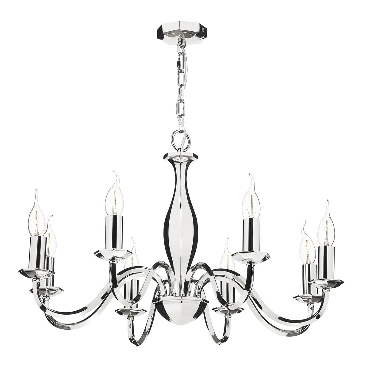 Dar ATH0838 Athol 8 Light Pendant in Polished Nickel Finish