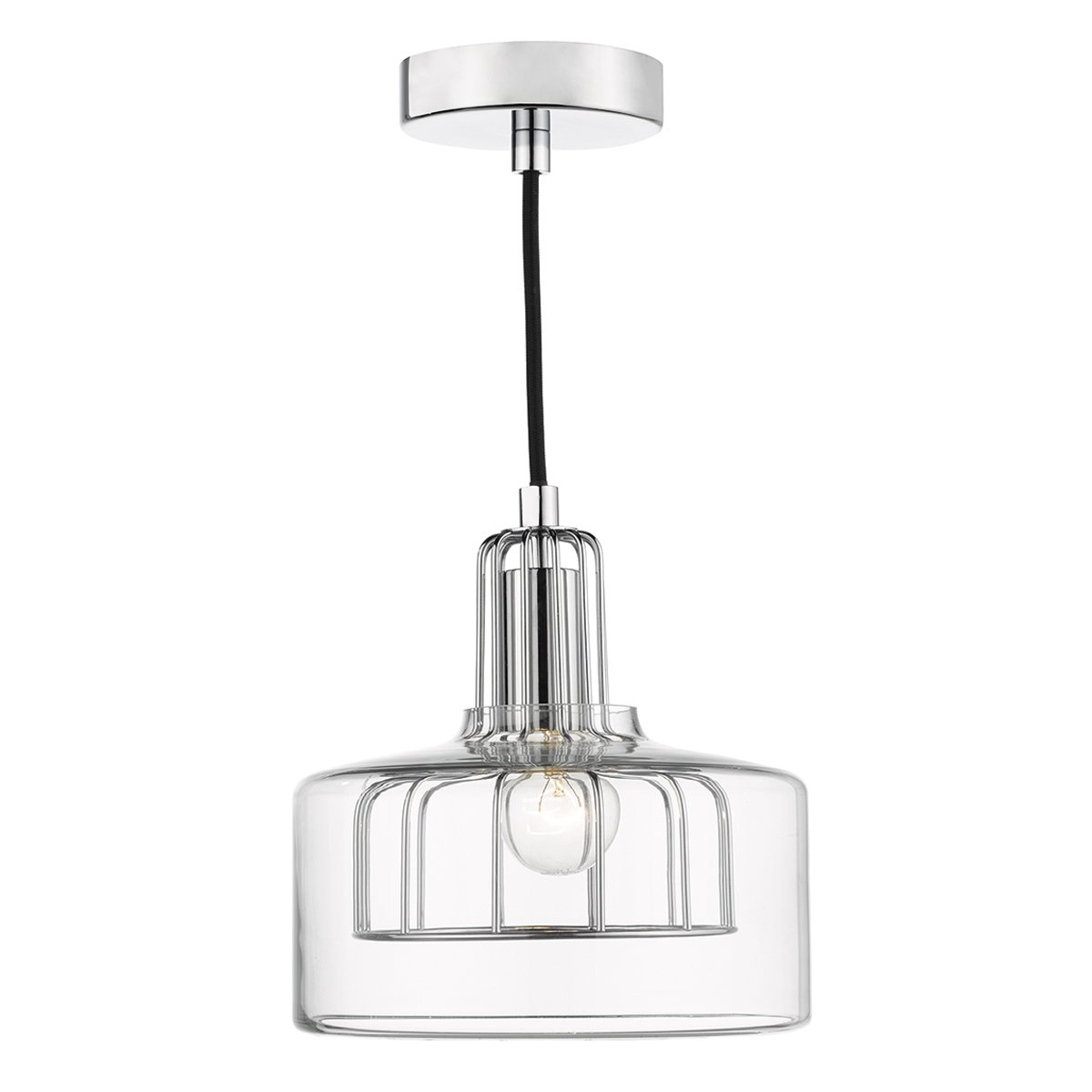 Dar DEF0150 Defoe 1 Light Lantern Pendant in Polished Chrome